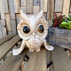 Vintage retro Owl statue big eyes tan decor shelf
